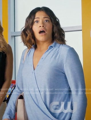 Jane's blue wrap shirt on Jane the Virgin