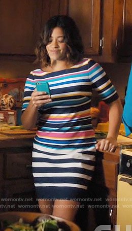 Jane's multi colored stripe dress on Jane the Virgin
