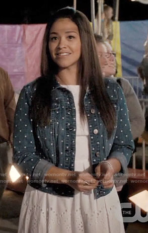 Jane's polka dot denim jacket on Jane the Virgin
