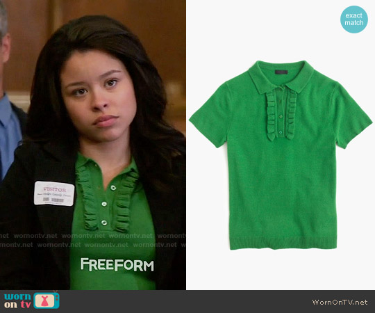 J. Crew Italian cashmere ruffle polo sweater worn by Cierra Ramirez on The Fosters