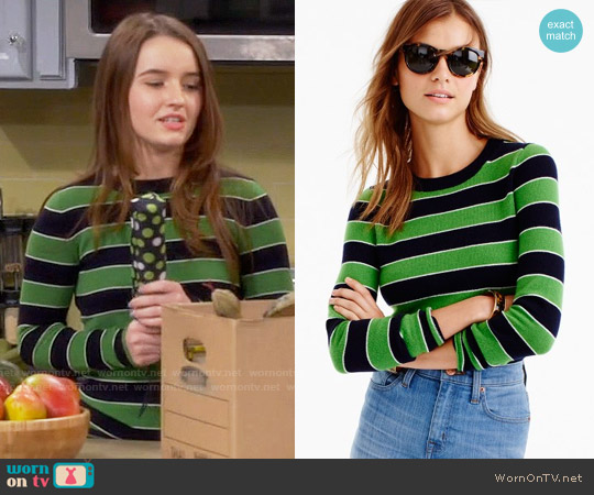 J. Crew Italian cashmere striped long-sleeve T-shirt worn by Kaitlyn Dever on Last Man Standing