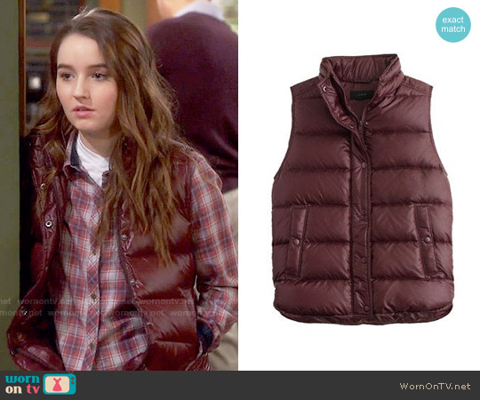 J. Crew Shiny Down Vest worn by Kaitlyn Dever on Last Man Standing