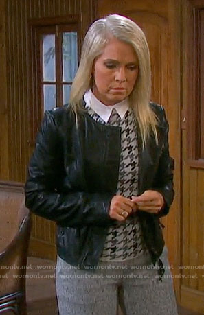 Jennifer's grey houndstooth top and leather jacket on Days of our Lives