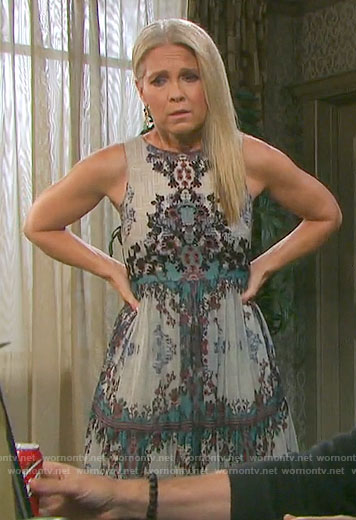 Jennifer's printed maxi dress on Days of our Lives