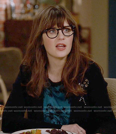 Jess's black embellished cardigan on New Girl