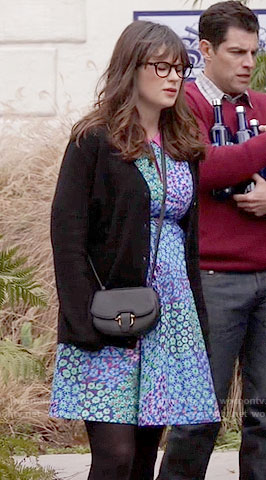 Jess's blue and green floral dress with pink collar on New Girl
