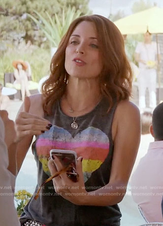 Jo's rainbow striped heart tank top on Girlfriends Guide to Divorce