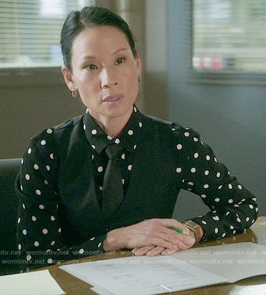 Joan's black polka dot shirt on Elementary