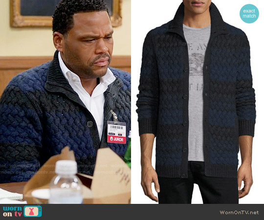 John Varvatos Basketweave-Knit Striped Cardigan worn by Andre Johnson (Anthony Anderson) on Blackish