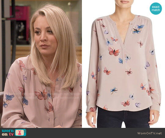 Joie Carita Printed Silk Top worn by Kaley Cuoco on The Big Bang Theory