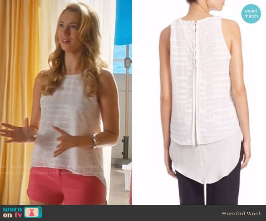 Jonathan Simkhai Lace-Up Texture Tank Top worn by Petra Solano (Yael Grobglas) on Jane the Virgin