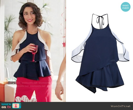 Jonathan Simkhai Ruffle Tank Top worn by Necar Zadegan on GG2D