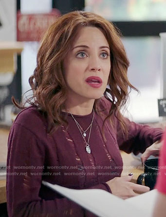 Jo's burgundy distressed sweater on Girlfriends Guide to Divorce