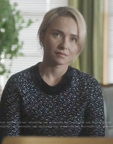 Juliette's black and white speckled sweater on Nashville