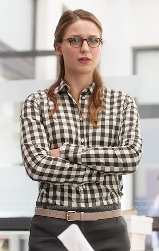 Kara's gingham check shirt on Supergirl
