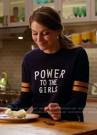 Kara's 'Power to the Girls' sweatshirt on Supergirl
