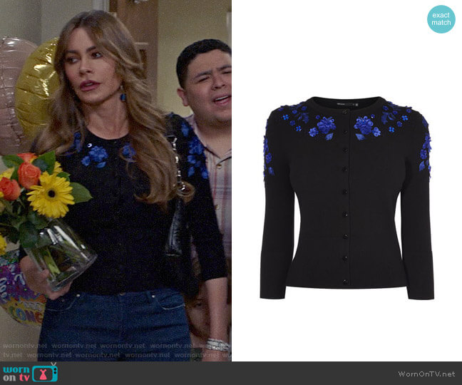 Karen Millen Floral Applique Cardigan worn by  Gloria Pritchett (Sofia Vergara) on Modern Family