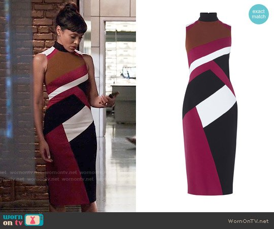 Karen Millen Graphic Paneled Pencil Dress worn by Camille Saroyan (Tamara Taylor) on Bones