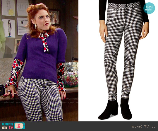 Karen Millen Houndstooth Skinny Jeans worn by Sally Spectra on The Bold & the Beautiful