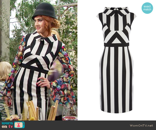 Karen Millen Multi Stripe Dress worn by Courtney Hope on The Bold & the Beautiful