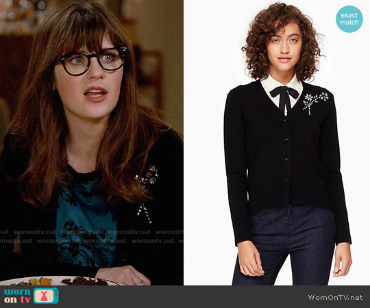 Kate Spade Embellished Brooch Cardigan worn by Zooey Deschanel on New Girl