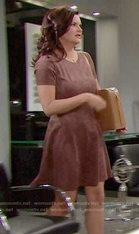 Katie's brown suede dress on The Bold and the Beautiful