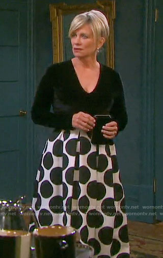 Kayla's polka dot maxi skirt and velvet top on Days of our Lives