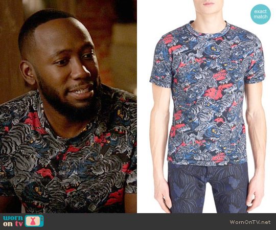 Kenzo Tiger Print T-shirt worn by Lamorne Morris on New Girl