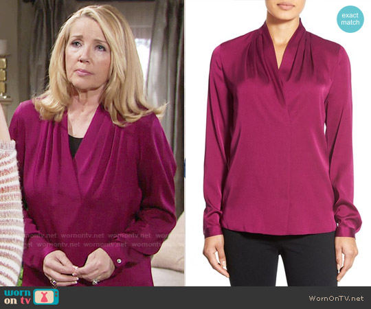 Kobi Halperin 'Gabrielle' V-Neck Silk Georgette Blouse worn by Nikki Reed Newman (Melody Thomas-Scott) on The Young & the Restless