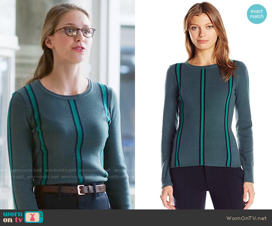 Lacoste Vertical Stripe Sweater in Kelp / Chives / Navy Blue worn by Melissa Benoist on Supergirl