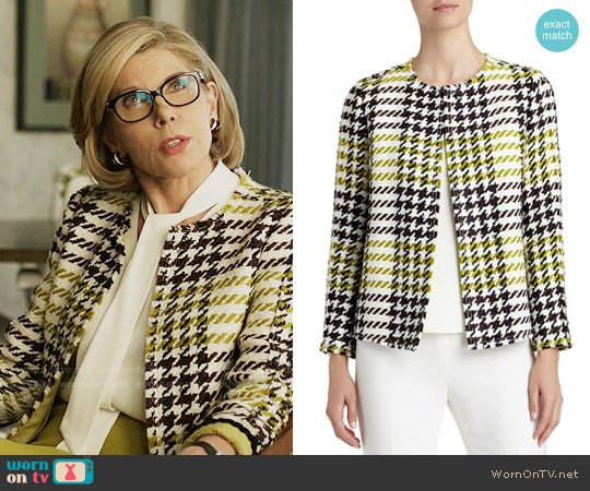 Lafayette 148 New York Dani Windsor Plaid Jacket worn by Christine Baranski on The Good Fight