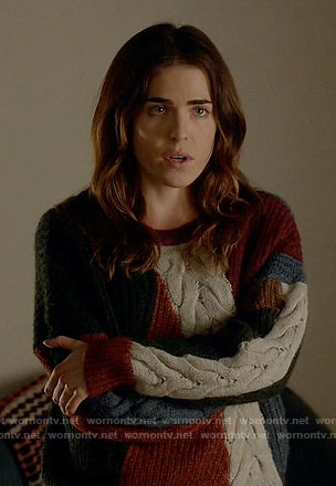 Laurel's colorblock cable knit sweater on How to Get Away with Murder