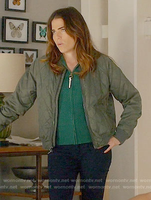 Laurel's green ribbed zip front cardigan and quilted jacket on How to Get Away with Murder