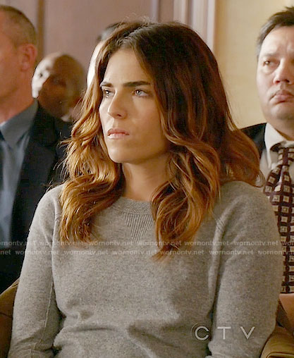 Laurel's grey sweater with black trim on How to Get Away with Murder