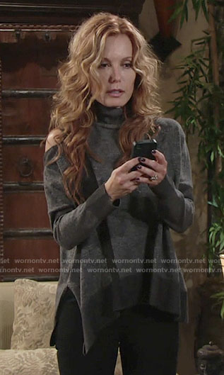 Lauren's grey shoulder cutout turtleneck sweater on The Young and the Restless