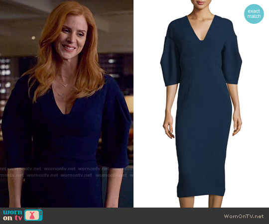 Lela Rose Half-Sleeve V-Neck Midi Dress worn by Donna Paulsen (Sarah Rafferty) on Suits