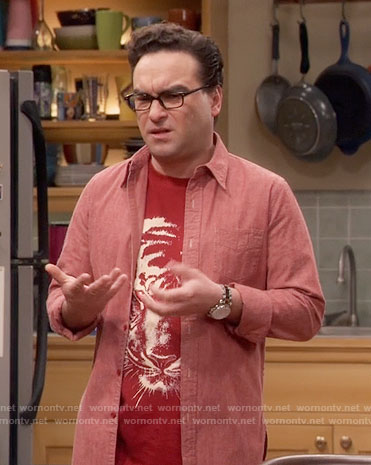 Leonard's red tiger graphic t-shirt on The Big Bang Theory