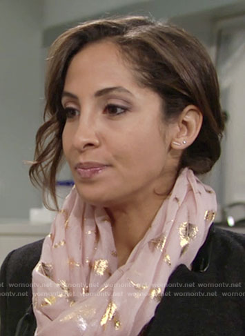 Lily's pink scarf with gold feathers on The Young and the Restless