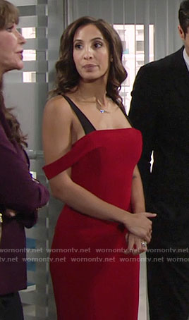 Lily's red off-shoulder dress with black straps on The Young and the Restless