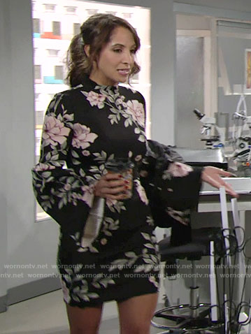 Lily's floral bell sleeve dress on The Young and the Restless