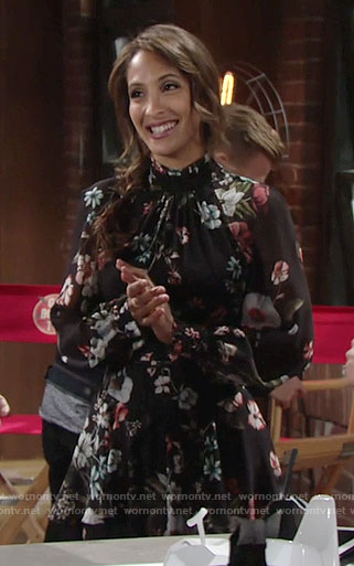 Lily's floral long sleeved dress on The Young and the Restless