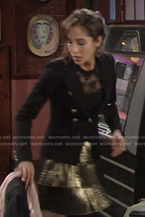 Lily's black blazer and gold pleated skirt on The Young and the Restless