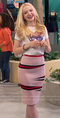 Liv's pink printed pencil skirt and sequined heart top on Liv and Maddie