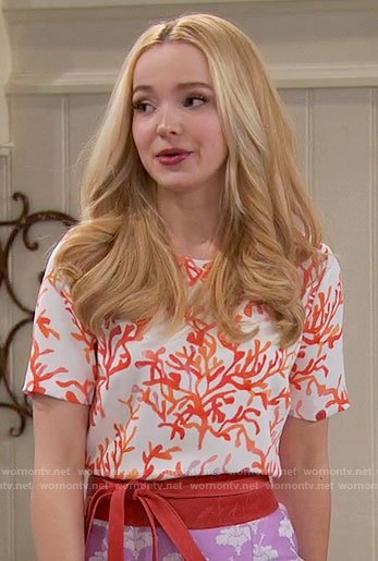 Liv's orange coral print top on Liv and Maddie