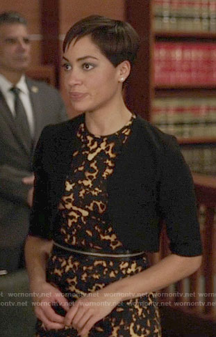 Luca's yellow dotted print dress on The Good Fight