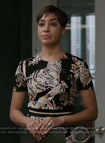 Lucca's short sleeved cat print dress on The Good Fight