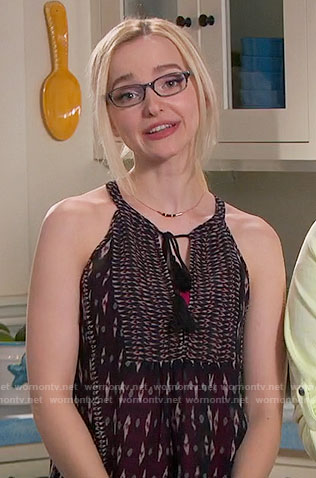 Maddie's black printed top on Liv and Maddie