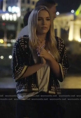 Maddie's black and white embroidered jacket on Nashville