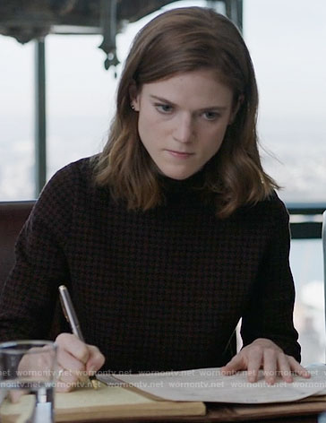 Maia's brown houndstooth top on The Good Fight