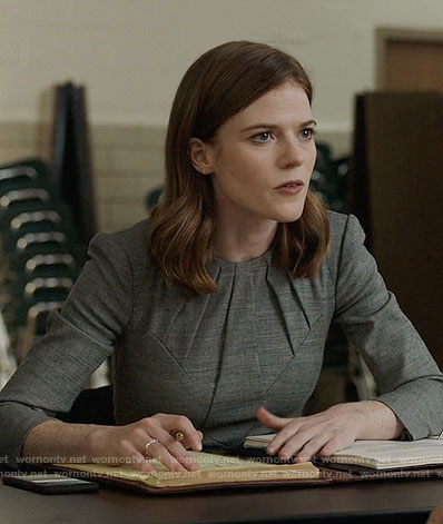 Maia's grey pleated neck dress on The Good Fight